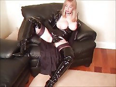 Blonde, Latex, MILF, POV