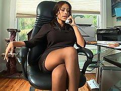 Office, Stockings, Brunette, Cute