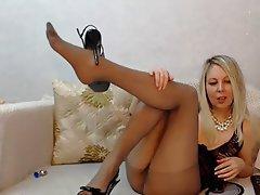 Blonde, MILF, Stockings, Webcam